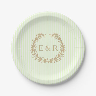 Soft Pale Celery Green Pastel Wreath and Sprig Paper Plate
