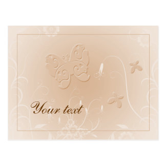 Soft pastel beige butterfly design postcard