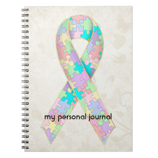 Soft Pastel Color Autism Ribbon Awareness Design Notebook