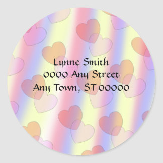 Soft Pastel Hearts -- Address labels Classic Round Sticker
