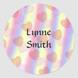 Soft Pastel Hearts -- Personalize Classic Round Sticker