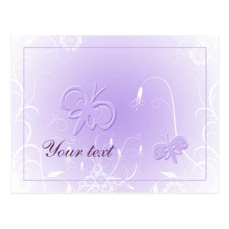 Soft pastel lilac butterfly design postcard