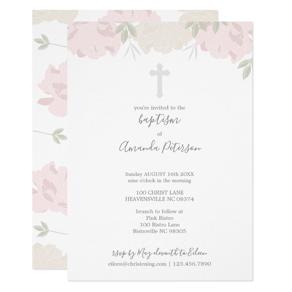 Soft Pastel Peonies Cross Girl Baptism Invitation