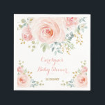 "Soft Pastel Pink Blush Watercolor Rose Baby Shower Napkin<br><div class=""desc"">This feminine design features gorgeous watercolor blush pink roses with gold leaf accents