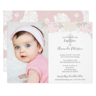 Soft Pastel Pink Peonies Cross Girl Baptism Invitation