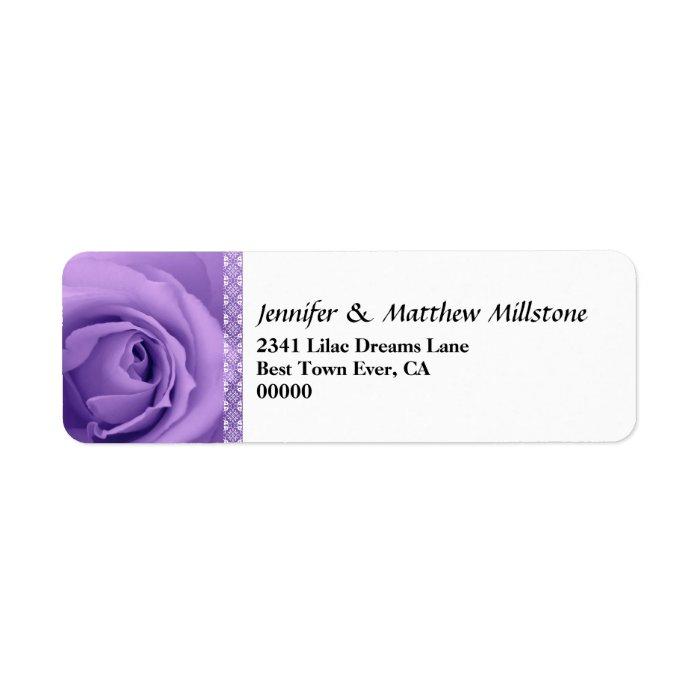 Soft Pastel Purple Rose with Lace Trim Wedding Label