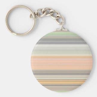 Soft Pastel Stripe Pattern Basic Round Button Keychain