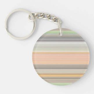 Soft Pastel Stripe Pattern Double-Sided Round Acrylic Keychain