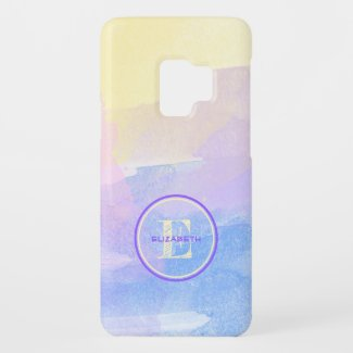 Soft Pastel Watercolors Initial Letter Monogram Case-Mate Samsung Galaxy S9 Case