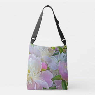 SOFT PASTELS/LAVENDER-PINK AND WHITE PEONIES CROSSBODY BAG