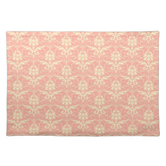 Soft Peach and Cream Damask Cloth Place Mat