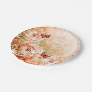 Soft peach floral 7 inch paper plate