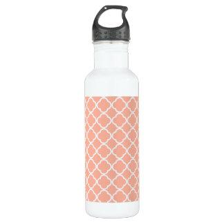Soft Peach Quatrefoil 24oz Water Bottle