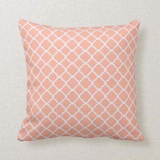 Soft Peach Quatrefoil Throw Pillow Zazzle