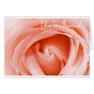 Soft Peach Rose, You're Invited Greeting Card
