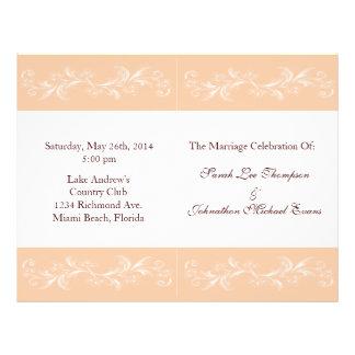 "Soft Peach Wedding Programs 8.5"" X 11"" Flyer"