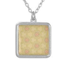 Soft Peach Yellow Modern Chic Fractal Pattern Silver Plated Necklace