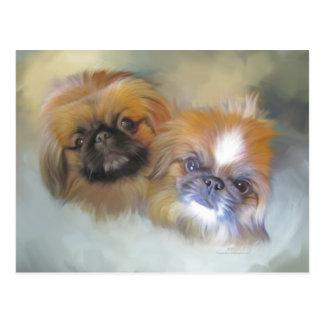 Soft Pekingese Duo Postcard