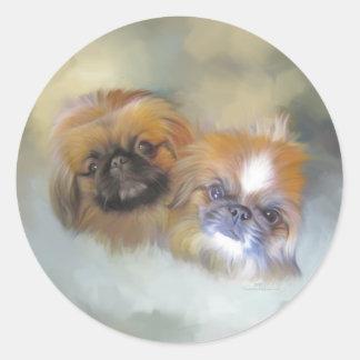 Soft Pekingese Duo Classic Round Sticker