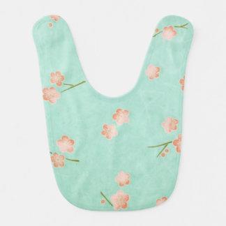 Soft Petals Peach & Aqua Baby Bibs
