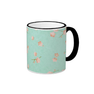 Soft Petals Peach & Aqua Ringer Coffee Mug