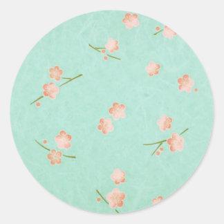 Soft Petals Peach & Aqua Round Sticker