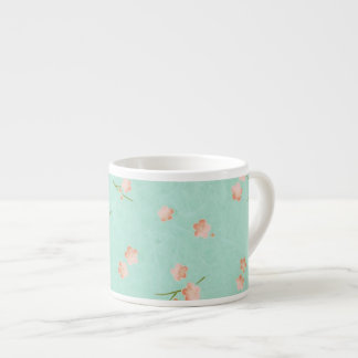Soft Petals Peach & Aqua 6 Oz Ceramic Espresso Cup