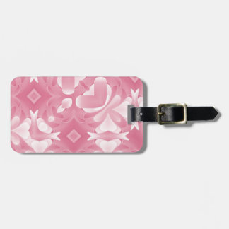 Soft Pink Abstract Hearts and Diamonds Bag Tag