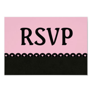 Soft Pink and Black RSVP Hearts Scalloped Lace V10 Card