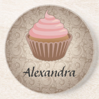 Soft Pink and Brown Cupcake, Personalized Keepsake Drink Coaster