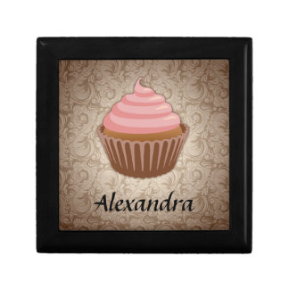Soft Pink and Brown Cupcake, Personalized Keepsake Gift Boxes
