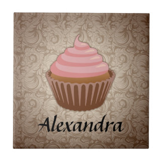 Soft Pink and Brown Cupcake, Personalized Keepsake Tile
