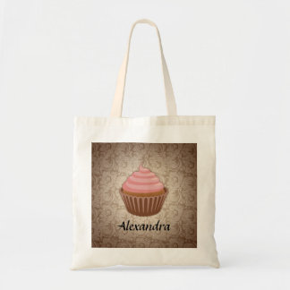 Soft Pink and Brown Cupcake, Personalized Keepsake Tote Bag
