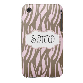Soft Pink and Brown Monogram Frame iPhone 3 Cover