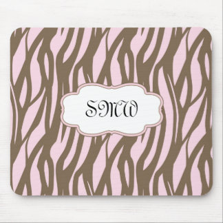 Soft Pink and Brown Monogram Frame Mouse Pad