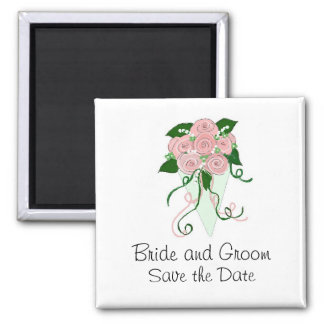 Soft Pink and Green Bouquet  Save the Date Magnet