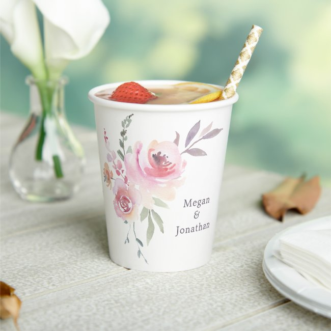 Soft pink and lavender floral paper cups