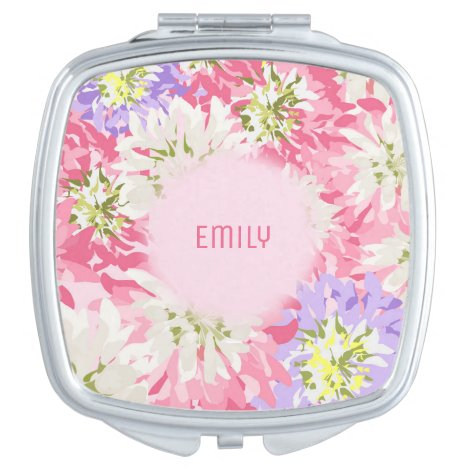 Soft pink and mauve floral monogram makeup mirror
