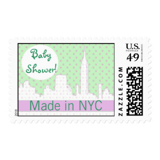 Soft pink and mint green NYC baby shower Postage