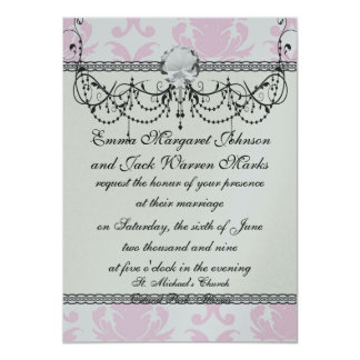 soft pink and white fleur damask card