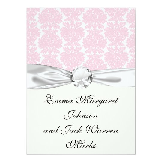 soft pink and white flourish damask pattern card