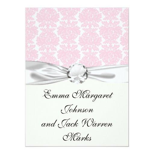 """soft pink and white flourish damask pattern 6.5"""" x 8.75"""" invitation card"""