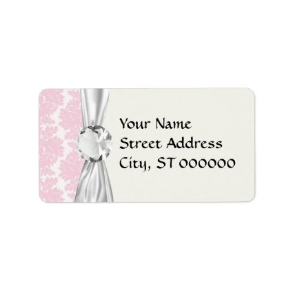 soft pink and white flourish damask pattern address label