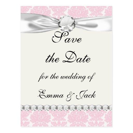 soft pink and white flourish damask pattern postcard