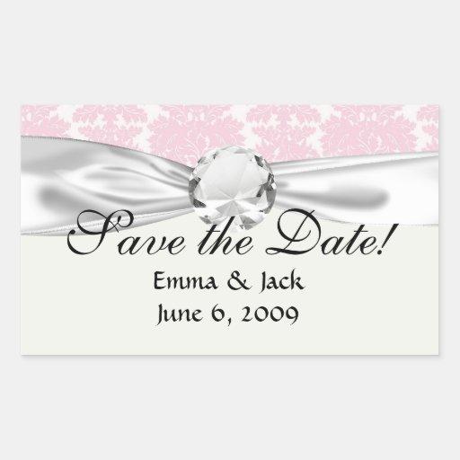 soft pink and white flourish damask pattern rectangular sticker