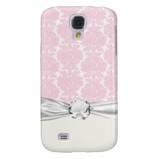 soft pink and white flourish damask pern galaxy s4 cover