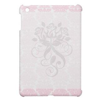 soft pink and white flourish damask pern iPad mini covers
