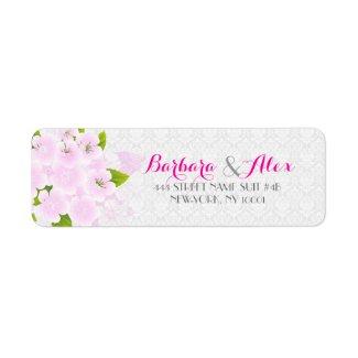 Soft Pink And White Flowers Wedding Design Return Address Label