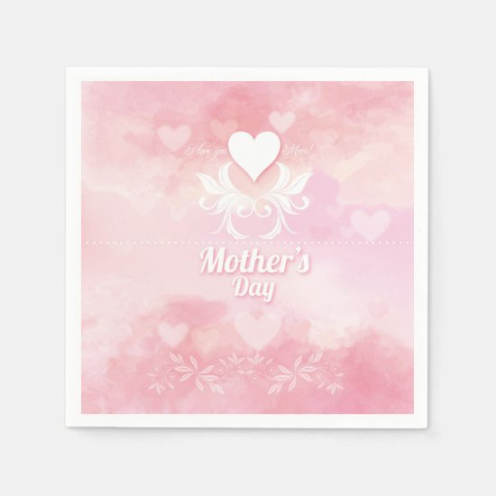 Soft Pink and White Mother's Day Paper Napkin