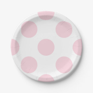 Soft Pink and White Polka Dot Pattern Paper Plates